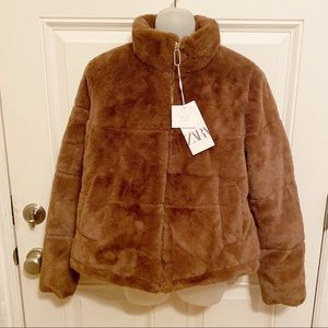 Zara Brown Faux Fur Jacket